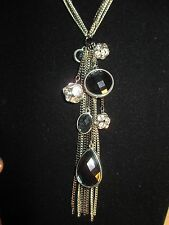 Necklace Silver Tone, Gunmetal Tone, Black & Clear Dangles Rhinestone 28""
