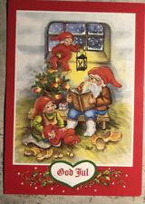 Christmas Postcard ~ Santa Elf Family  God Jul Posted Via Sweden 1983