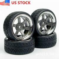 US 4Pcs 1:10 12mm Hex Rubber Tires&Wheel Rims For HSP HPI On Road Racing Car