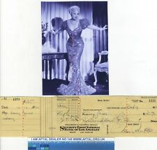 Mae West vintage signed Bank Cheque / Check AFTAL #145
