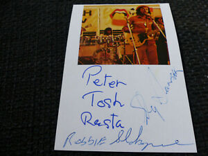 PETER TOSH + ROBBIE & SLY signed 4x6 index Card InPerson in Berlin SCARCE!!