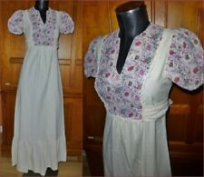 Vtg 70s Bohemian Cotton Hippie Prairie Festival Empire Waist Maxi DRESS XS