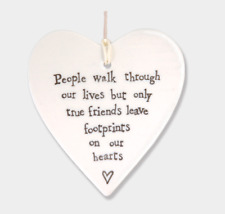 East of India White Porcelain Hanging Heart 4 Designs Friendship Hearts Gift People Walk
