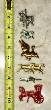 Lot 6 Vintage Horse Pins Brooches Tie Clip Danecraft Carousel Carriage Donkey