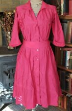 Vintage Button Down Belted,collared Dress Pink!