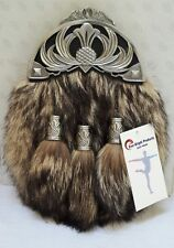 Scottish Kilt Original Fox Fur Full Dress Sporran Antique Anemal CROWN Cantel