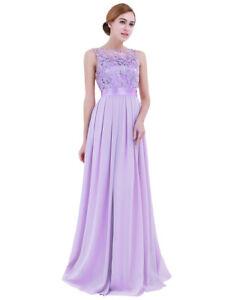 Women Long Chiffon Prom Evening Party Bridesmaid Wedding Crochet Maxi Dress
