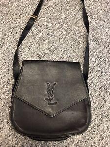 Vintage Yves Saint Laurent Black Leather Cross Body Shoulder Bag