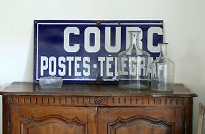 großes Emailschild, Teil einer Ortspoststelle, POSTES - TELEGRAP..., Frankreich