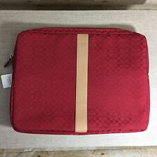 "COACH Signature""C"" Red/ Maroon With Leather Trim Laptop bag/ Filing Document New"
