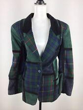 BRANDON THOMAS Women's Vintage Leather Wool Suit Jacket plaid/checks  size/12m