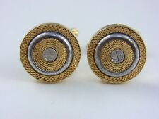 dunhill Gold Plated and Silver colored Circle Cufflinks