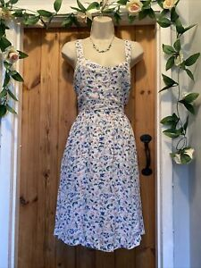 FAT FACE SELINA TRAILING FLORAL WITH BIRD FLOWER PRINT COTTON SUN DRESS SIZE 10