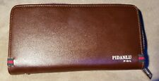 PIDANLU Brown Wallet Clutch holds Credit Cards Cash and Cell Phone Smudges