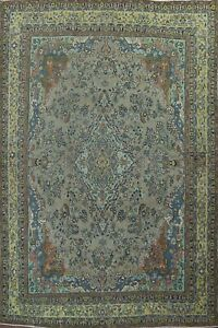 Antique Overdyed Floral Traditional Evenly Low Pile Hand-knotted Area Rug 10x13