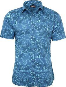 Run & Fly Mens Cotton Blue Chemistry Science Lab Printed Short Sleeve Shirt