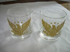 Set of 2 Vintage Old Fashion Rocks Glasses Embossed Gold American Eagle & Stars