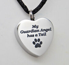 My Guardian Angel has a Tail Urn Necklace Paw Cremation Jewelry Pet Memorial