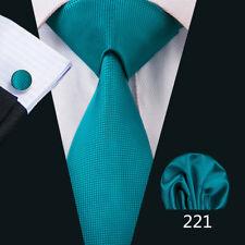 USA 50 Style Silk Men Tie Blue Necktie Pocket Square Cufflinks Gift Set Wedding