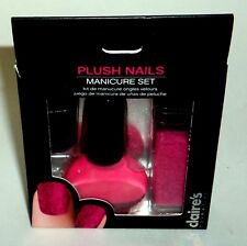 CLAIRE'S Plush Nails 3 Piece Manicure Set Hot Pink New In Box