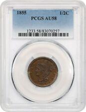 1855 1/2c PCGS AU58 - Braided Hair Half Cents (1840-1857)