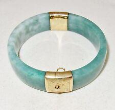 Vintage ? BIG Chinese 14K Yellow Gold Green JADEITE Jade Bangle Bracelet  (87g)