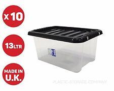 10 x 13 LITRE PLASTIC STORAGE BOX -SMALL BOX - SHOES - ALL ACCESSORIES - CHEAP!