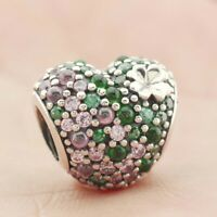 925 Sterling Silver Gleaming Clover Heart Charm Pink Green CZ Bead Spring New