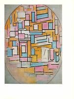 "1970 Vintage MONDRIAN ""OVAL COMPOSITION"" GORGEOUS COLOR offset Lithograph"