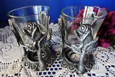Resplendent Roses Votive Candle Holders - Glass Vase - Metal Base Décor - Pair