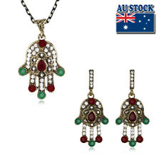 Classic Bronze Red Hand Of Fatima Crystal Look Boho Gypsy Necklace And Earrings