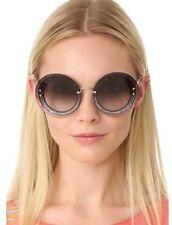 8e34f37df6f6 NEW Miu Miu by Prada SMU10R Round Glitter (UES-0A7) Grey Transparent  Sunglasses