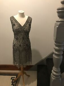 Grey & Silver Gatsby Style Flapper Dress Size 12