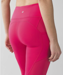 """Lululemon All The Right Places Crop Leggings - Size 10 - High Waist 23"""" Pink"""
