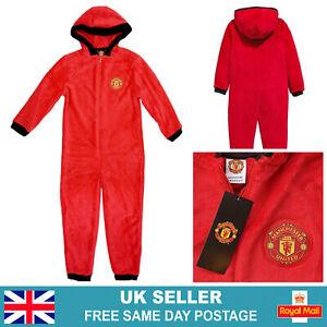 Kids Official Manchester United 1Onesie | Hooded Fleece Man-U One Piece Pjs UK