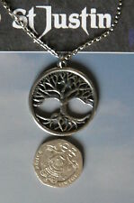 ST JUSTIN,TREE OF LIFE,PN810 PEWTER PENDANT, UK MADE,