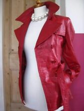 Ladies ORSAY red leather fitted belted JACKET COAT UK 10 EU 36 double breasted