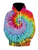 Tie Dye Rainbow Hoodie Adult S To 2XL Long Sleeve With Pockets Colortone UK
