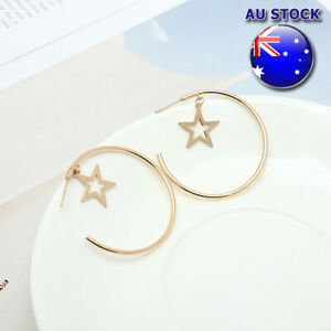 18K Gold Plated Dangly Star Deco Polished Chunky Hoop Earring With Post Back