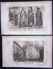 1859 COSTUMI MILANESI-DUOMO MILANO 2 stampe Lostalot-Bachoué magistrato soldato
