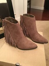 New candies camel brown tan faux suede shoes 7.5 Fringe boots $89.99
