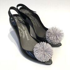 Unique Vivienne Westwood Melissa Anglomania Black Heels Pom Pom Size US 6