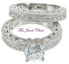 Band Sterling White Gold Finish Round Princess Antique Engagement Ring Wedding