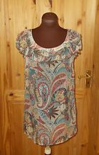ESPRIT pink blue brown paisley floral SILK chiffon short sleeve tunic top 10 38