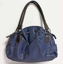 BUENO Blue Faux Leather Satchel Shoulder Handbag Purse