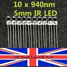 10pcs 5mm Alta Potenza Infrarossi IR LED lunghezza d'onda 940nm UK STOCK GRATIS UK P + P