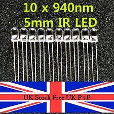 10pcs 5mm High Power Infrared IR LED Wavelength 940nm UK Stock Free UK P+P
