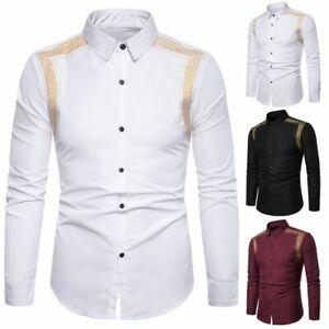 New T-shirt Luxury Dress casual Fit Long Sleeve Tops formal Fashion Men's Slim