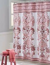 Mariah Burnt Orange Rose Pink Beige Fabric Shower Curtain100% Cotton Floral NWOP