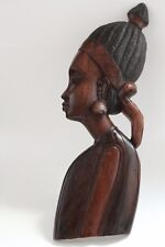 Hand Carved Wood Tribal Profile Figures Wall Plaques